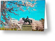 General In The Blossoms Greeting Card