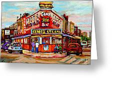 Geno's Steaks Philadelphia Cheesesteak Restaurant South Philly Italian Market Scenes Carole Spandau Greeting Card