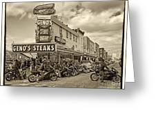 Geno's With Cycles Greeting Card