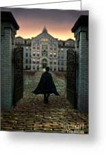 Gentleman In Top Hat And Cape Walking Through Gates Greeting Card