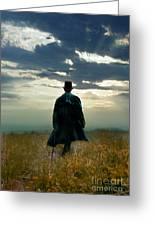 Gentleman In Top Hat Walking In Field Greeting Card