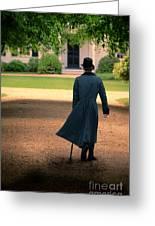 Gentleman Walking Towards A House Greeting Card