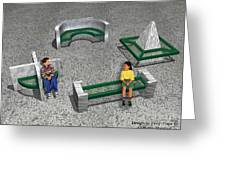 Geo Benches Greeting Card by Peter Piatt