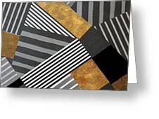 Geo Stripes In Gold And Black II Greeting Card