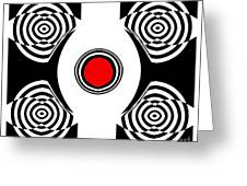 Geometric Abstract Black White Red Art No.400 Greeting Card