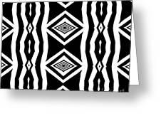 Geometric Pattern Abstract Black White Art No.339. Greeting Card by Drinka Mercep