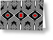 Pattern Black White Red Op Art No.389. Greeting Card by Drinka Mercep