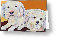 George And Henry Greeting Card by Pat Saunders-White