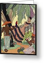 George Barbier. Spanish Lady In Hammoc With Parrot.  Greeting Card