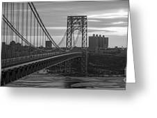 George Washington Bridge Frame Work Bw Greeting Card