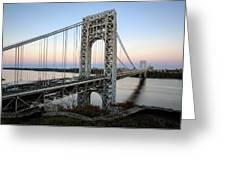 George Washington Bridge Sunset Greeting Card by Susan Candelario