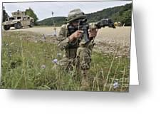 Georgian Army Sergeant Aims An M4 Greeting Card
