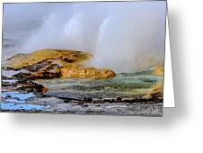 Geothermal Geyser On Yellowstone Lake Greeting Card