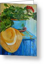 Geraniums And A Hat Greeting Card