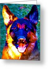 German Shepard - Electric Greeting Card by Wingsdomain Art and Photography