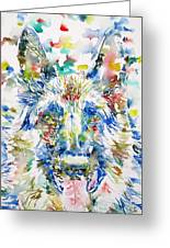 German Shepherd - Watercolor Portrait Greeting Card
