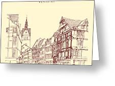 German Town, Walking Street, Timber Greeting Card