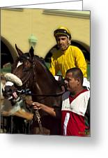Getting Ready - Jockey And Horse For The Race Greeting Card