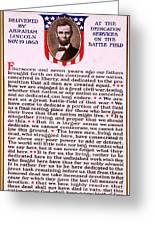Gettysburg Address By Abraham Lincoln  Greeting Card