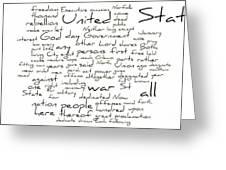 Gettysburg Address-emancipation Proclamation-second Inaugural Address-word Cloud Greeting Card