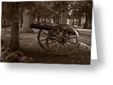 Gettysburg Cannon B W Greeting Card