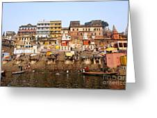 Ghats In The River Ganges At Varanasi In India Greeting Card