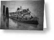 Ghost Steamer In Bw Greeting Card