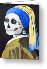 Ghoul With Pearl Earring Greeting Card