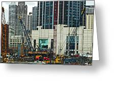 Downtown Chicago High Rise Construction Site Greeting Card