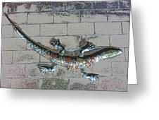 Giant Lizard On A Wall Greeting Card