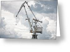 Giant Old Crane Against Dark Sky Greeting Card