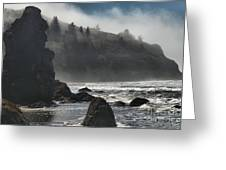 Giants In The Fog Greeting Card by Adam Jewell