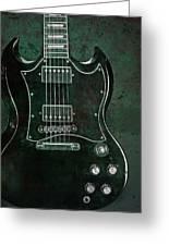 Gibson Sg Standard Green Grunge Greeting Card