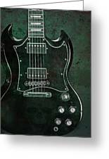 Gibson Sg Standard Green Grunge With Skull Greeting Card