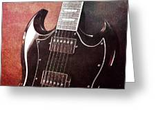 Gibson Sg Standard Red Grunge Greeting Card