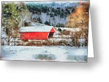 Gifford Covered Bridge In Winter Greeting Card