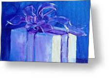 Gift In Blue Greeting Card
