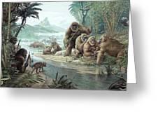 Gigantopithecus With Homo Erectus Greeting Card