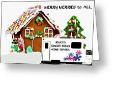 Gingerbread House Xmas Card 2 Greeting Card