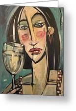 Gingham Girl With Wineglass Greeting Card