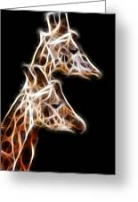 Giraffe Duo Fractal Greeting Card