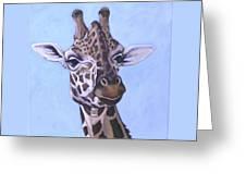 Giraffe Eye To Eye Greeting Card