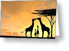 Giraffe Family Love Two Kids Greeting Card