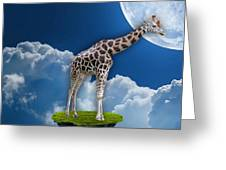 Giraffe Flying High Greeting Card