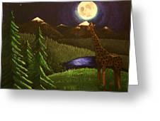 Giraffe In The Moonlight Greeting Card