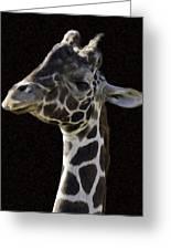 Giraffe In The Morning Pixelated Greeting Card