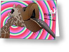 Giraffe Lick Greeting Card