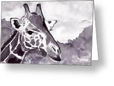 Giraffe Greeting Card by Michael Rados