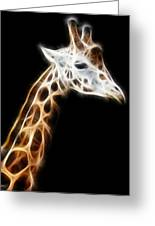 Giraffe Portrait Fractal Greeting Card
