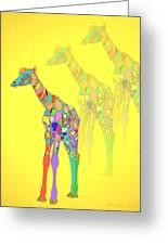 Giraffe X 3 - Yellow Greeting Card